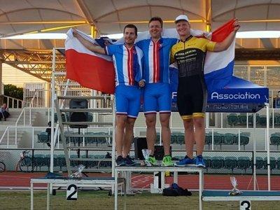 Kulka, Pelc, De Jonge - sprinty MS v koloběhu / Zdroj: FCB Australian Footbike Association