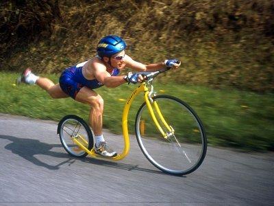 Hannu na žlutém Kickbike Millenium Racer - nějakých 15 let zpátky