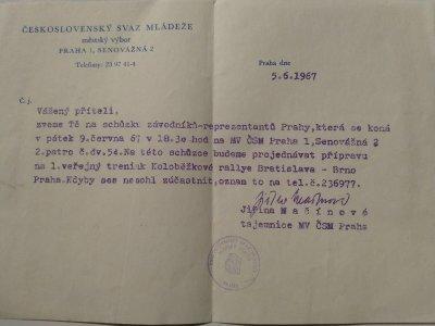 Pozvánka na trénink pražského týmu pro první Rallye Bratislava - Brno - Praha 1967