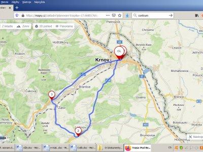 Trasa silničního závodu: Krnov, gymnázium – Láryšov – Lichnice – Zátor – Brantice – Krnov, stadion TJ Krnov