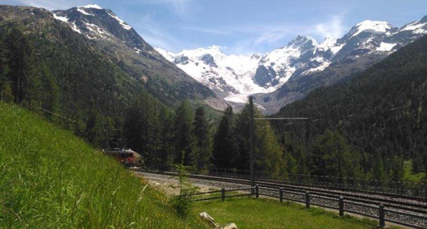 Masiv Bernina v popředí s Bernina expresem