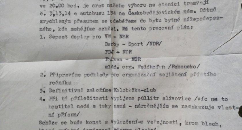 Část pozvánky na první schůzi (v té době vlastně ještě neexistujícího) Rollo clubu Praha