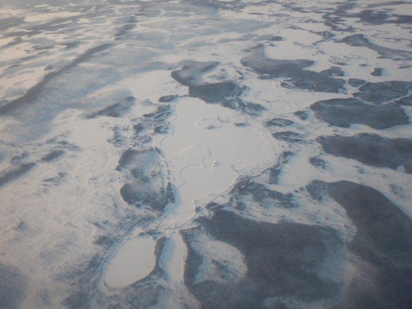 Tímto terénem jsem se proplétal často - pohled z letadla krátce po startu