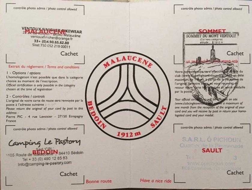 Průkaz pokořitele Ventoux